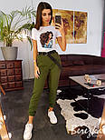 Женские штаны джоггеры на каждый день с поясом vN3194, фото 8