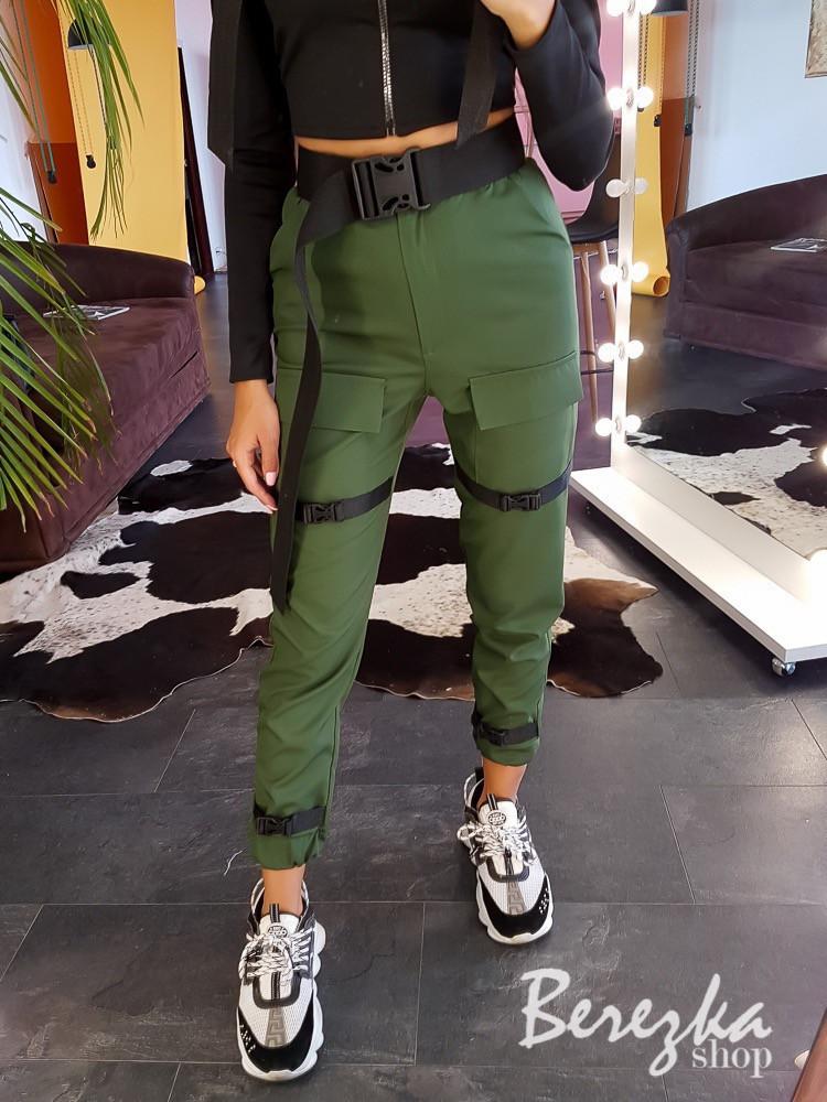 Женские брюки карго с ремешками и накладными карманами vN3200