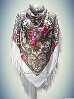 Шерстяной платок, белый с розовым 140см