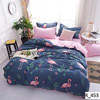 3D Двуспальное постельное белье Ranforce розовый фламинго