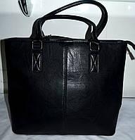 Женская черная сумка из кожзама с двумя ручками 30*25 см