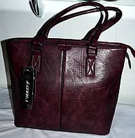 Женская бордовая сумка из кожзама с двумя ручками 30*25 см