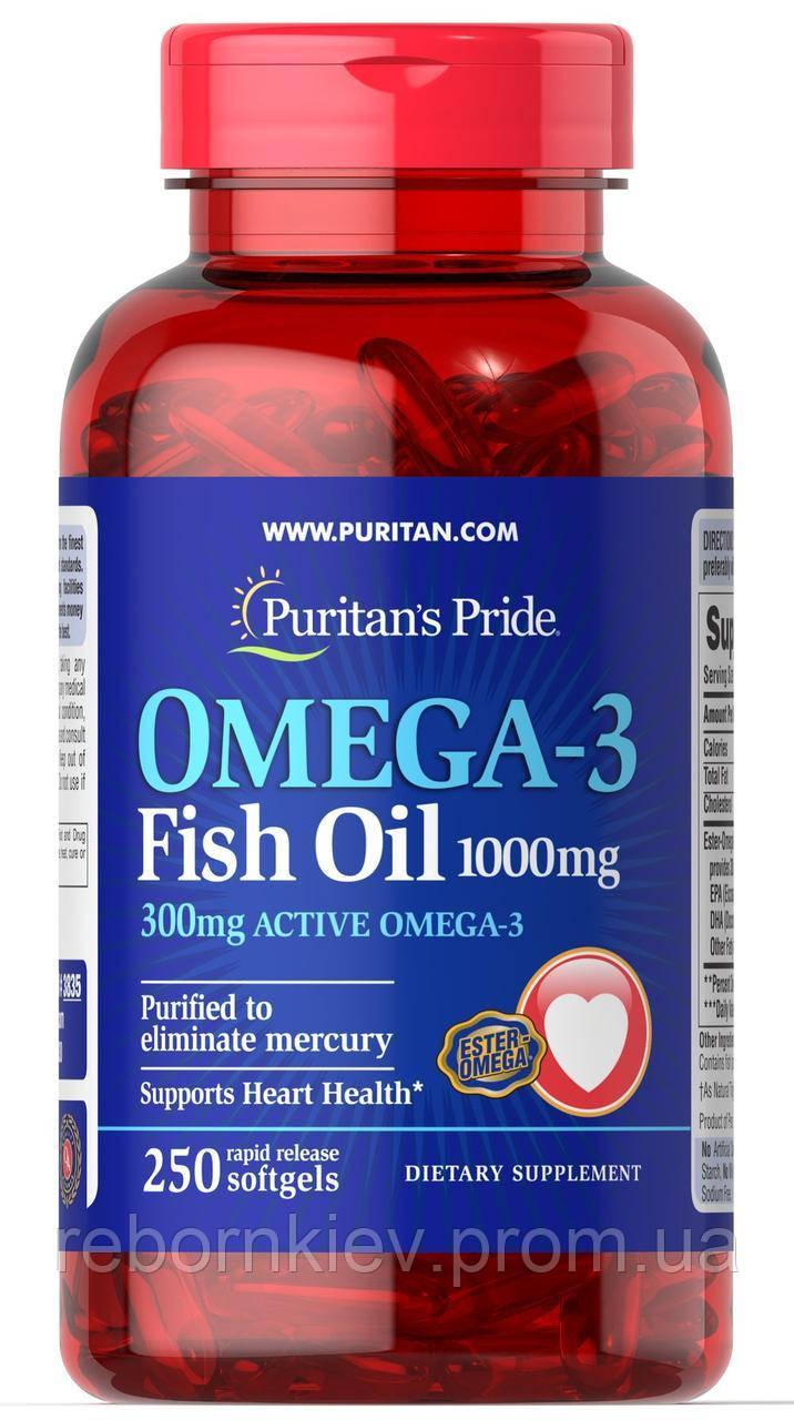 Omega-3 Fish Oil 1000 mg (300 mg Active Omega-3)250 Softgels