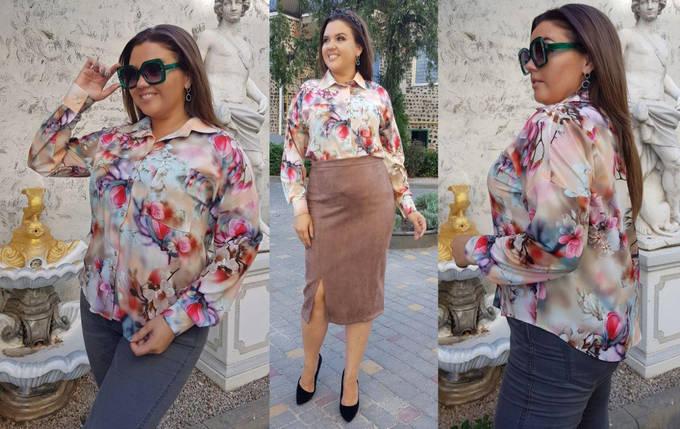 Блуза  принт  БАТАЛ  160236, фото 2
