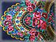 Шерстяной платок в народном стиле, темно синий, фото 5