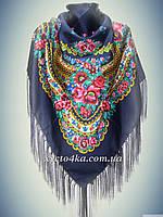 Шерстяной платок в народном стиле, темно синий