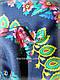 Шерстяной платок в народном стиле, темно синий, фото 3