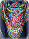 Шерстяной платок в народном стиле, темно синий, фото 2
