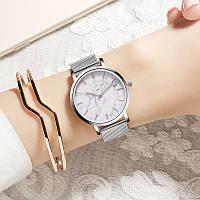 Женские часы Classic с мраморным циферблатом серебряные, жіночий годинник під мрамор, наручные часы под мрамор