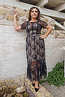 Стильное коктейльное платье миди   БАТАЛ 1604073