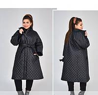 / Размеры 48,50,52,54,56-58,60-62 / Женская куртка-пальто батал / 1852-1-Черный
