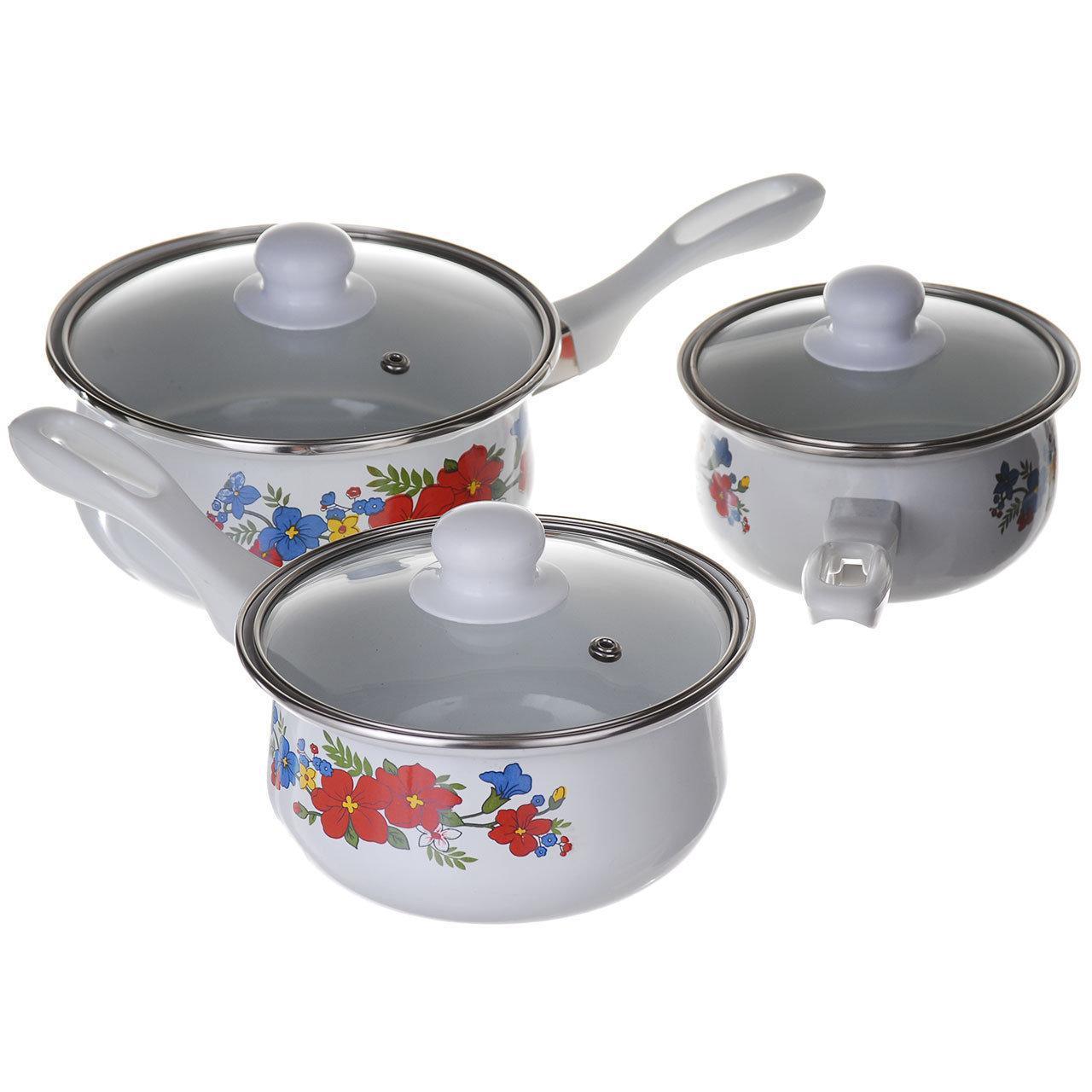 Ковши кухонные Эмалированные A-PLUS набор 3 шт