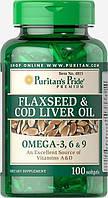 Flaxseed & Cod Liver Oil 1000 mg Omega 3, 6 & 9100 Softgels