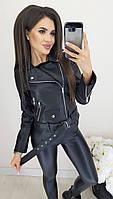 Стильная женская куртка косуха с молниями на рукавах Фабричный Китай