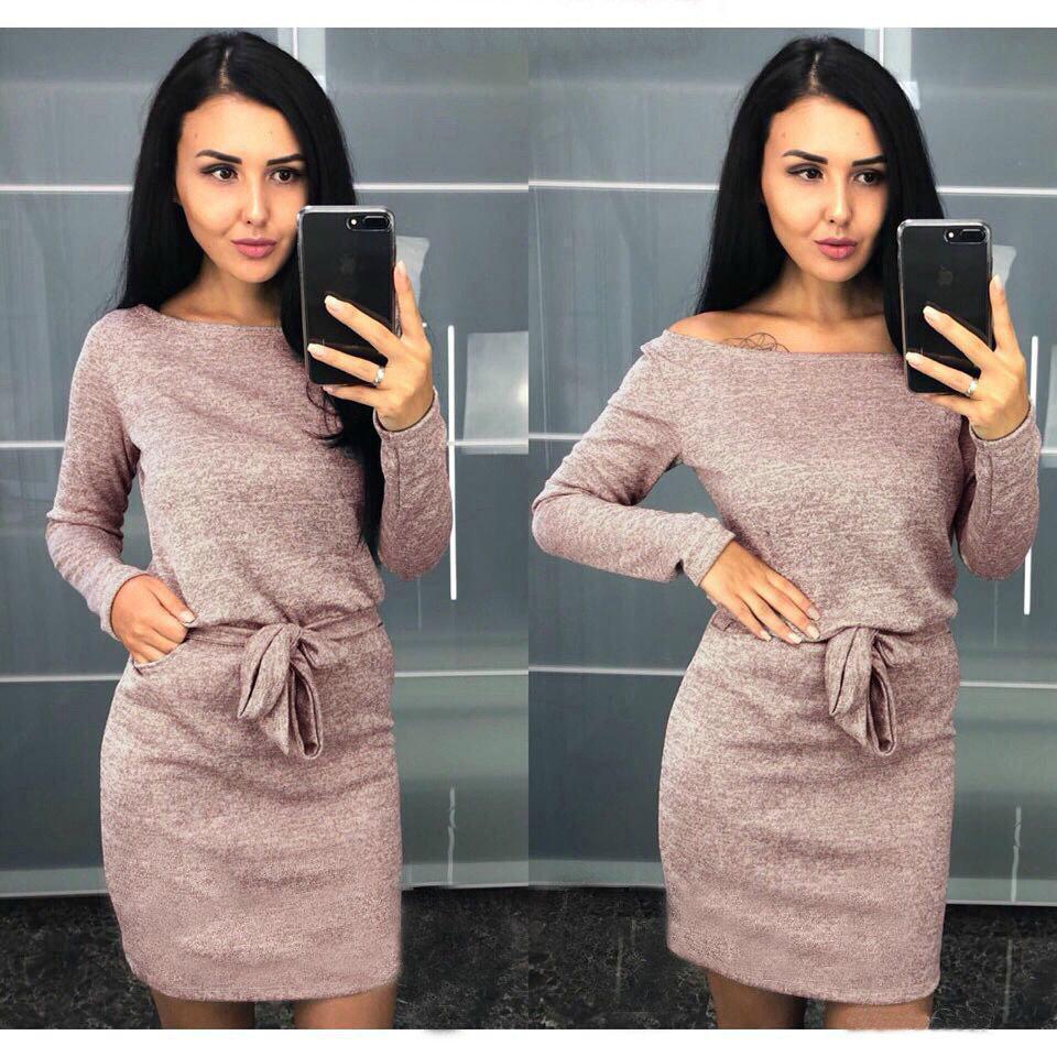 Стильное платье на осень выше колен с поясом большие размеры пудровое