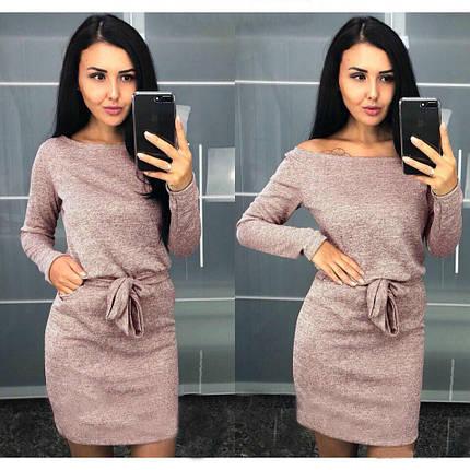 Стильное платье на осень выше колен с поясом большие размеры пудровое, фото 2
