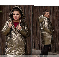 / Размеры 50,52,54,56,58,60,62 / Женская зимняя куртка с капюшоном / 717-Металлик