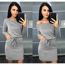 Платье на осень большие размеры с поясом и длинным рукавом темно-синее, фото 3