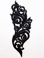 Кружевной фрагмент черный 26х10см Цена за 1шт