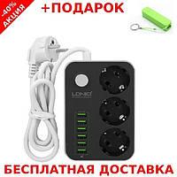 Сетевой фильтр-удлинитель LDNIO SE3631 6 USB портов 3.4А авторегулировка + павербанк
