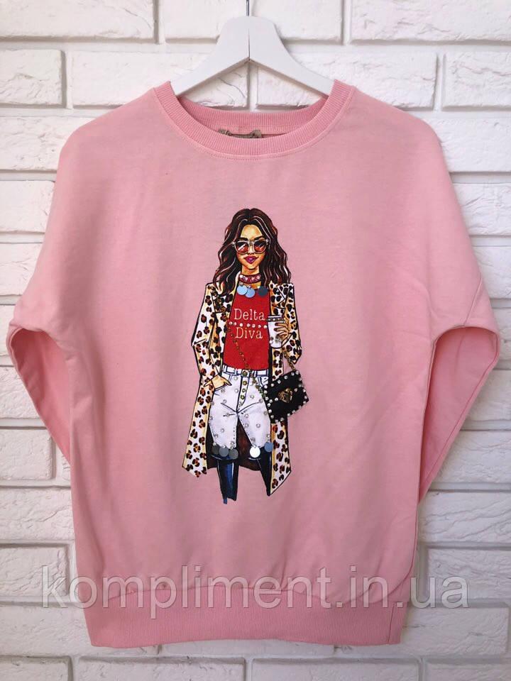 Модный трикотажный турецкий свитшот, 3D рисунок девочка,розовый