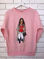 Модный трикотажный турецкий свитшот, 3D рисунок девочка,розовый, фото 1
