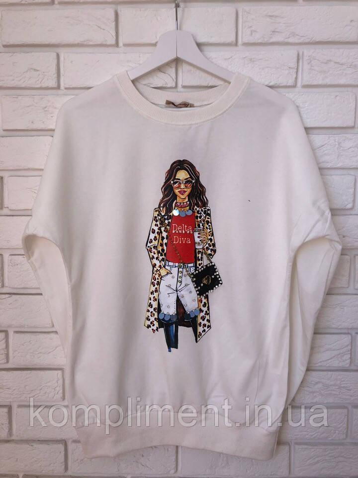 Модный трикотажный турецкий свитшот, 3D рисунок девочка,белый