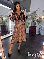 Платье миди со шнуровкой на груди и открытыми плечами с сеткой на подкладе 66py145Е