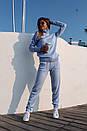 Вязаный женский брючный костюм с кофтой прямой с высоким воротником 41ks179, фото 2