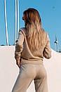 Вязаный женский брючный костюм с кофтой прямой с высоким воротником 41ks179, фото 6