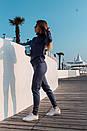 Вязаный женский брючный костюм с кофтой прямой с высоким воротником 41ks179, фото 8