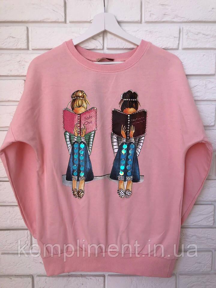 Модный трикотажный турецкий свитшот, 3D рисунок девочки,розовый