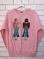 Модный трикотажный турецкий свитшот, 3D рисунок девочки,розовый, фото 1