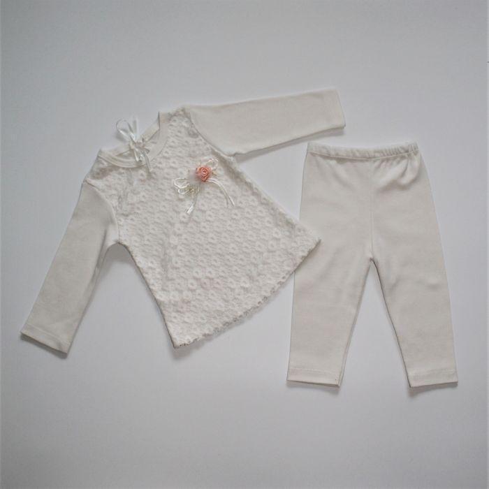 Костюм для девочки Турция 3-9 месяцев белый с розовым 232088