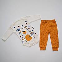 """Бодік зі штанцями """"TiniminiHoly"""" на 3-9 місяців жовтий, фото 1"""