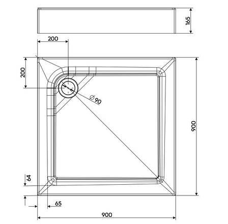 FIRST поддон 90*90см, квадратный, с интегрированной панелью и ножками, фото 2