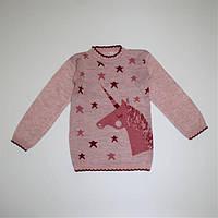 Светрик з єдинорогом для дівчинки 3-5 років рожевий