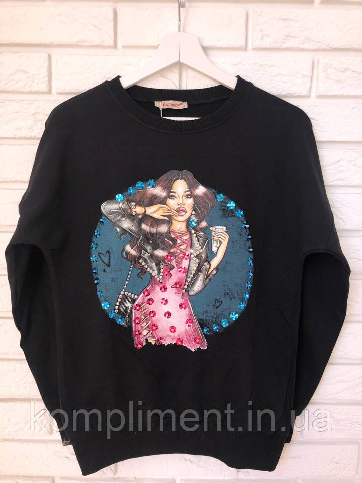 Трикотажный турецкий свитшот, 3D рисунок девочка,черный