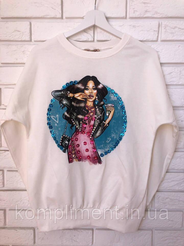 Трикотажный турецкий свитшот, 3D рисунок девочка,белый
