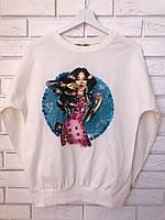 Трикотажный турецкий свитшот, 3D рисунок девочка,белый, фото 1