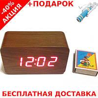Настольные часы VST-862-2 подсветкой в виде деревянного бруска + монопод для селфи