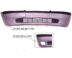 Бампер передний Opel Vectra B -99 без отверстий под противотуманные фары с решеткой (FPS). 1400164
