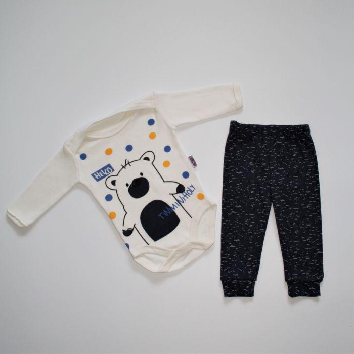 """Бодік зі штанцями """"TiniminiHoly"""" на 3-9 місяців темно-синій"""