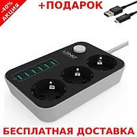 Сетевой фильтр-удлинитель LDNIO SE3631 Cardboard case 2 метра кабель 3 розетки 220V 6 USB 3.4А + шнур зарядки