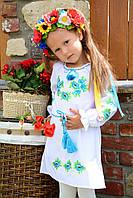 """Вышитое платье-туника для девочки """"Маки голубые"""" на домотканном полотне"""