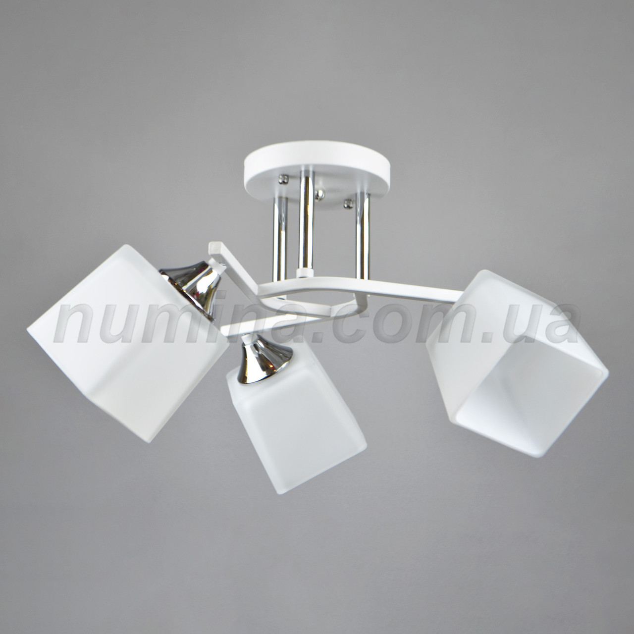 Люстра потолочная на три квадратных белых плафона 3-A3064/3 WT+CH