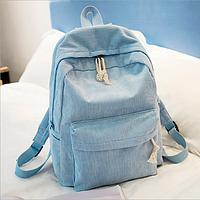 Рюкзак городской вельветовый женский голубой