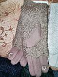 Сенсорны вязание шерсти трикотаж женские перчатки с сенсором для работы на телефоне плоншете оптом, фото 7