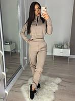 Женский спортивный костюм из плотного трикотажа с топом 20rt731