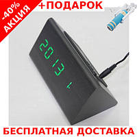 Часы настольные с будильником VST-861-2  864 в виде дерев.бруска с подсветкой + монопод для селфи